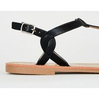 Black Leather-Look Toe Post Sandals New Look