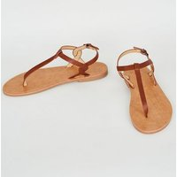 Tan Leather-Look Toe Post Sandals New Look