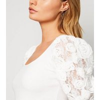 Cameo Rose Cream Floral Lace Sleeve Top New Look