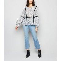 JDY Off White Floral Crochet Trim Blouse New Look