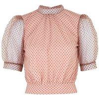 Pink Spot Mesh Puff Sleeve High Neck Top New Look