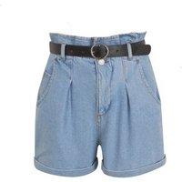 Blue Denim Belted High Waist Shorts New Look