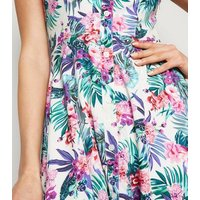 Mela Multicoloured Tropical Floral Skater Dress New Look