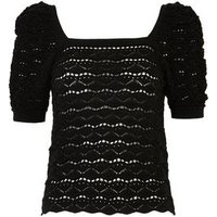 Black Pointelle Square Neck Puff Sleeve Top New Look