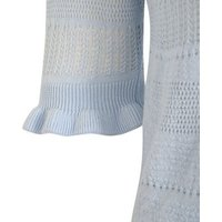 Pale Blue Pointelle Knit Frill Sleeve Top New Look