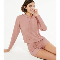 Pale Pink Ribbed Hoodie and Shorts Set New Look