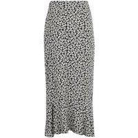 Black Monochrome Floral Ruffle Wrap Midi Skirt New Look