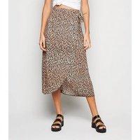 Brown Leopard Print High Waist Wrap Midi Skirt New Look
