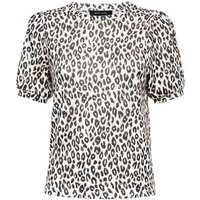 Brown Leopard Print Puff Sleeve Top New Look