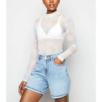 Multicoloured Tie Dye Mesh Long Sleeve Top New Look
