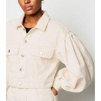NA-KD Off White Puff Sleeve Oversized Denim Jacket New Look