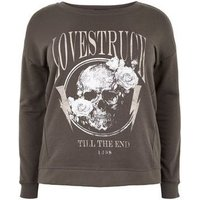 Curves Grey Skull Lovestruck Slogan Sweatshirt New Look