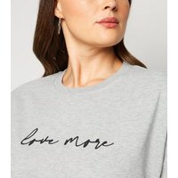 Curves Grey Marl Love Slogan Longline Sweatshirt New Look