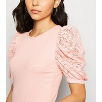 Cameo Rose Pale Pink Lace Sleeve Top New Look