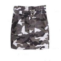 Girls Light Grey Camo Belted High Waist Skirt New Look