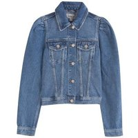 Girls Blue Puff Sleeve Denim Jacket New Look