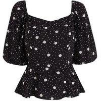 Tall Black Spot Puff Sleeve Peplum Blouse New Look