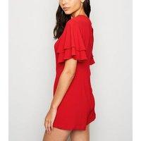 Sunshine Soul Red Flutter Sleeve Playsuit New Look