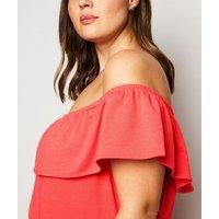 Vero-Moda-Curves-Red-Bardot-Midi-Dress-New-Look