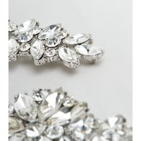 Silver Gem Embellished Drop Earrings New Look