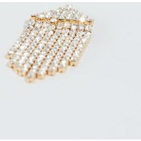 Gold Diamante Tassel Trim Earrings New Look