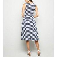 Mela Navy Stripe Square Neck Midi Dress New Look