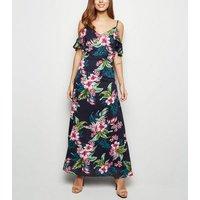 Mela Blue Tropical Cold Shoulder Maxi Dress New Look