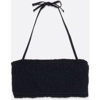 Black Shirred Bandeau Bikini Top New Look