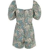 Blue Vanilla Mint Green Daisy Puff Sleeve Playsuit New Look