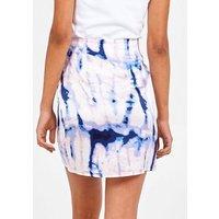 Pink Vanilla Blue Tie Dye Wrap Mini Skirt New Look