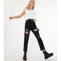 Black High Waist Ripped Tori Mom Jeans New Look