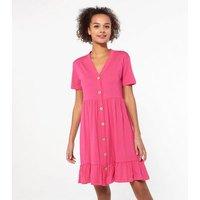 JDY Bright Pink Button Frill Hem Dress New Look