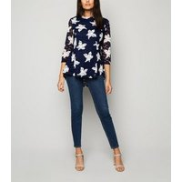 Apricot Navy Floral Spot Mesh Top New Look