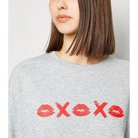 Grey XOXO Lips Sweatshirt New Look