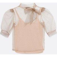 Pale Pink Velvet Spot Organza Blouse New Look