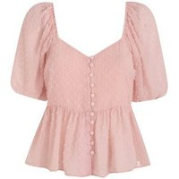 Pink Chiffon Spot Puff Sleeve Blouse New Look