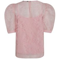 Pink Floral Organza Puff Sleeve Top New Look