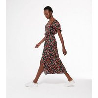Black Floral Puff Sleeve Belted Midi Dress New Look