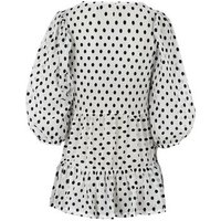 Maternity Cream Spot Mesh Puff Sleeve Tiered Top New Look