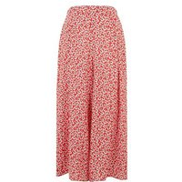 Red Floral Wide Leg Crop Trousers New Look