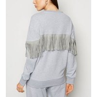 Cameo Rose Pale Grey Diamante Tassel Sweatshirt New Look