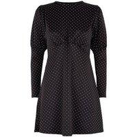 Cameo Rose Black Spot Long Sleeve Dress New Look