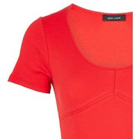 Red Ribbed Scoop Neck Seamed Bodysuit New Look