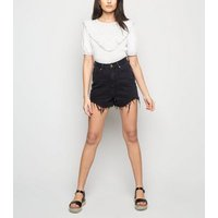 White Broderie Frill Puff Sleeve Top New Look