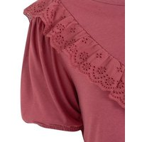 Dark Red Broderie Frill Trim Top New Look