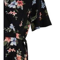 Black Tropical Floral Wrap Playsuit New Look
