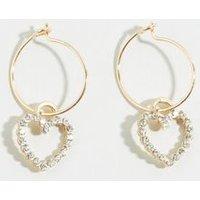 Gold Diamante Heart Hoop Earrings New Look