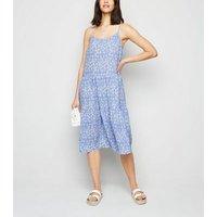 JDY Blue Floral Tiered Midi Dress New Look