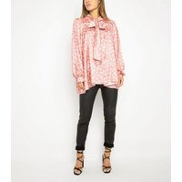 Port Boutique Pink Satin Leaf Bow Blouse New Look