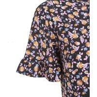 Black Floral Frill Sleeve Smock Mini Dress New Look
